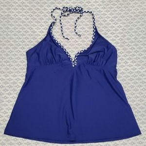 Blue Tankini with Braided Rope Strap